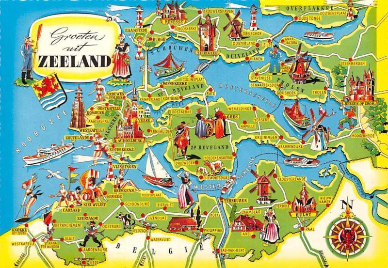 Netherlands Groeten uit Zeeland Map Beveland Middleburg Kruiningen