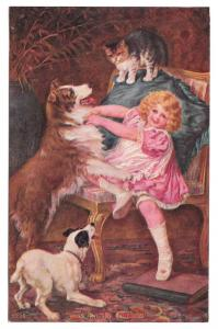 Kiss and Be Friends Vintage Postcard Girl with Dogs and cat