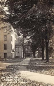 Albion Michigan~Walkway in Front of Albion College~Bicycle on Bldg~c1910 RPPC