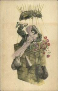 Mary Farini - Beautiful Woman Hot Air Balloon Basket c1910 Postcard