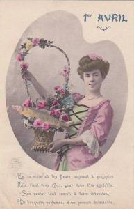 1er Avril April Fool's Day Woman Holding Basket With Fish 1908