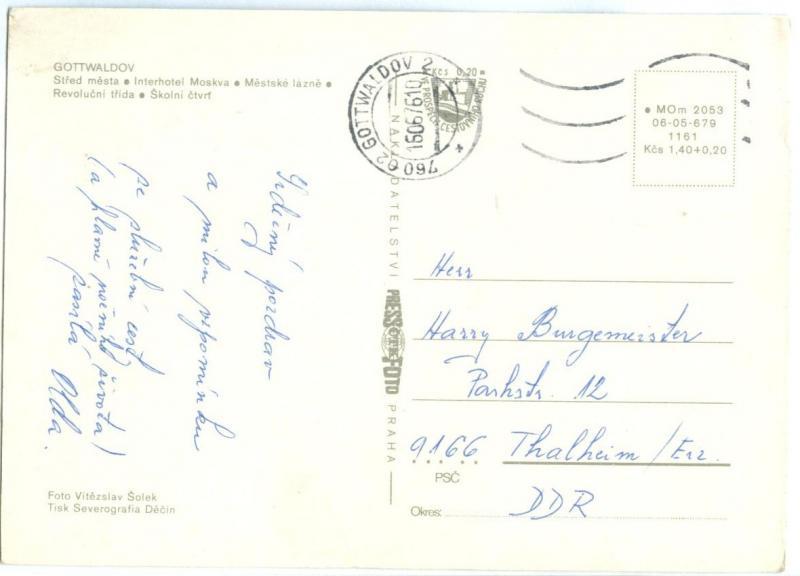 Czech Republic, GOTTWALDOV, multi view, 1970s used Postcard