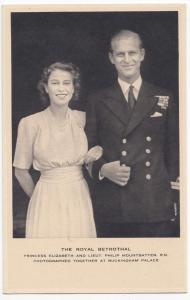 The Royal Betrothal, Princess Elizabeth & Lieut Philip Mountbatten RP PPC, Tuck