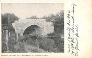 Charles City Iowa Greenhouses Shermans Bridge Antique Postcard K83014