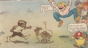 COMIC: Crowd watching boys fight, Toddler crying home, 1900-10s