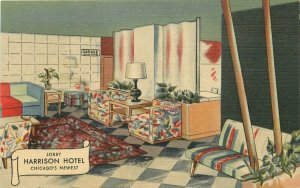 Chicago Illinois Harrison Hotel interior Postcard Teich linen 21-168