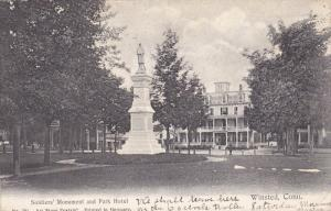 WINSTED, Connecticut, PU-1907; Soldiers' Monument And Park Hotel