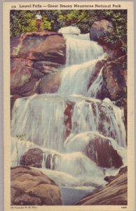 LAUREL FALLS - GREAT SMOKY MOUNTAINS NATIONAL PARK...View shows the falls 1930s