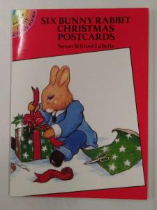 Christmas Greetings Six different Bunny Rabbit Postcard Booklet J74225