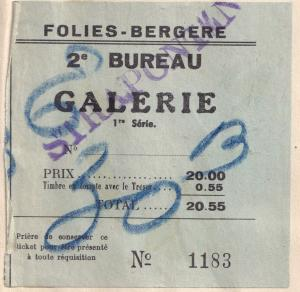 Folies Bergere Paris 1950 Revue Cabaret Entrance Ticket