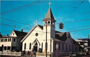 Ocean City Maryland~St Mary's Star-of-the-Sea~RC Church & Rectory~Crowd~1960s