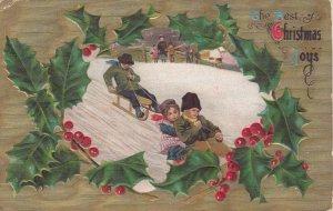 CHRISTMAS, PU-1908 ; Kids on sleds
