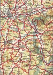 germany, FRANKFURT DARMSTADT, Hesse, MAP Postcard 1940s