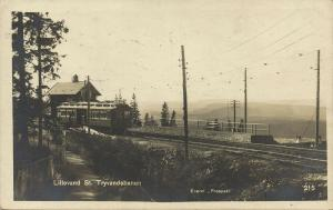 norway norge, LILLEVAND, St. Tryvandsbanen, Train Railway Station (1923) RPPC