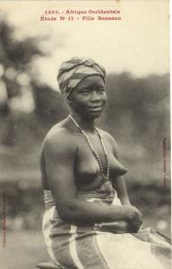 CPA Senegal Ethnic Nude Fortier - 1332. Étude N 11 Fille Soussou (70906)