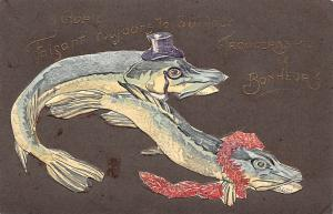Embossed: 1 Avril, April's Fool, Trouveras-tu le Bonheur, Fish, Poissons 1907