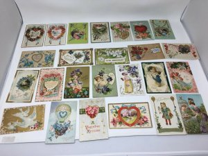 Valentine Postcard Lot of 25 Vintage Antique Mixed Cupid Hearts