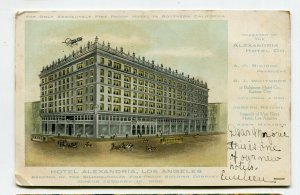Early LOS ANGELES CA Postcard  HOTEL ALEXANDRIA advertising UDB private mailing