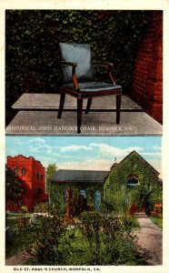Virginia Norfolk Historical John Hancock Chair & Old St Paul's Church 19...