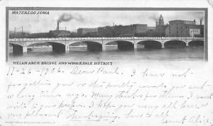 Waterloo Iowa Melan Arch Bridge Waterfront Antique Postcard K56408