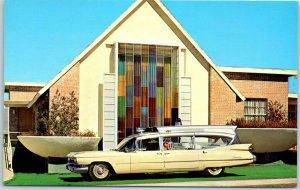 Tucson, Arizona Chrome Advertising Postcard ADAIR AMBULANCE SERVICE Church 1950s