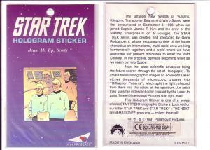 Star Trek Bridge Crew Hologram Sticker, 1991