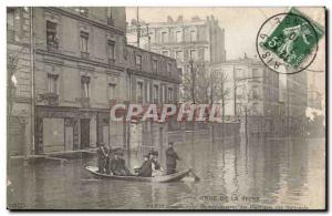 Crue of the Seine Paris Old Postcard Floods Clichy Demenagement residents Rue...