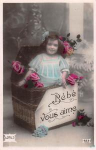 Bebe vous aime present gift box girl fillette flowers fleurs, Lotus CPA