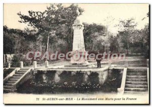 Postcard Old St Aubin sur mer the war memorial for France