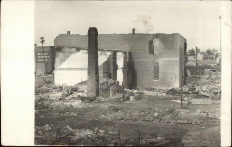 Damaged Building - FIRE PEOTONE IL Written on Back Real Photo Postcard #1 spg