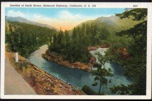 California Junction of Smith Rivers Redwood Highway U.S. 199 - LINEN