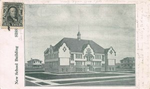 New School Building, Sisseton, South Dakota, Early Postcard, Used in 1907