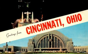 Ohio Cincinnati Greetings Showing Union Station 1967