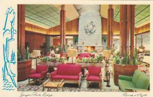 Interior View, Jasper Park Lodge, Fireplace, Canadian Rocky Mountains, Jasper...