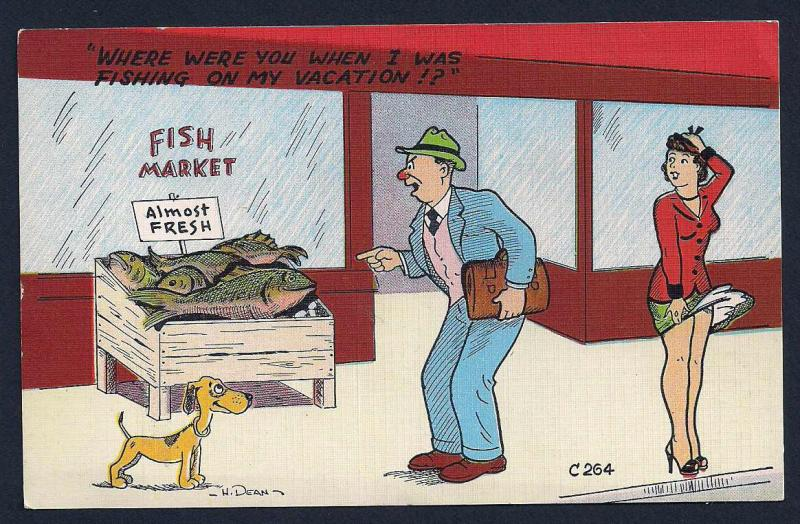 'Where were you when I was fishing?' unused c1930's