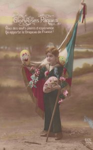 RP: War 1914-18 ; Boy & French Flag ; EASTER