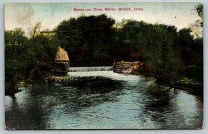 Stuart Iowa~Boys Fishing on Coon River Dam~AS Raber Publisher~1909 Postcard