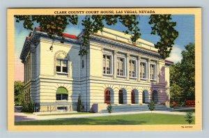 Las Vegas NV, Clark County Courthouse, Linen Nevada Postcard