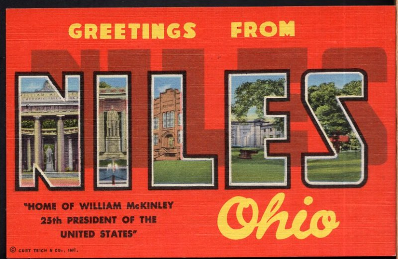 Ohio Large Letter - MultiView - Greetings from NILES - LINEN