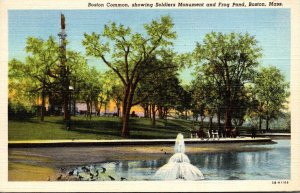 Massachusetts Boston Common Showing Soldiers Monument and Frog Pond 1944 Curt...