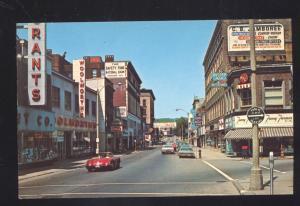FITCHBURG MASSACHUSETTS 1957 CORVETTE OLD CARS DOWNTOWN STREET POSTCARD
