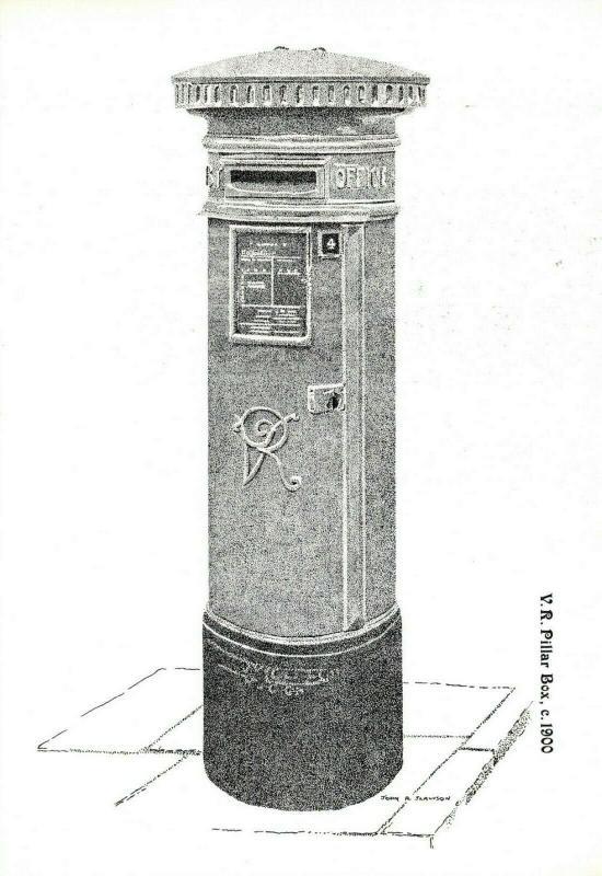 Postcard, Victoria, Victorian V.R Pillar Post Box Illustration c1900 86R