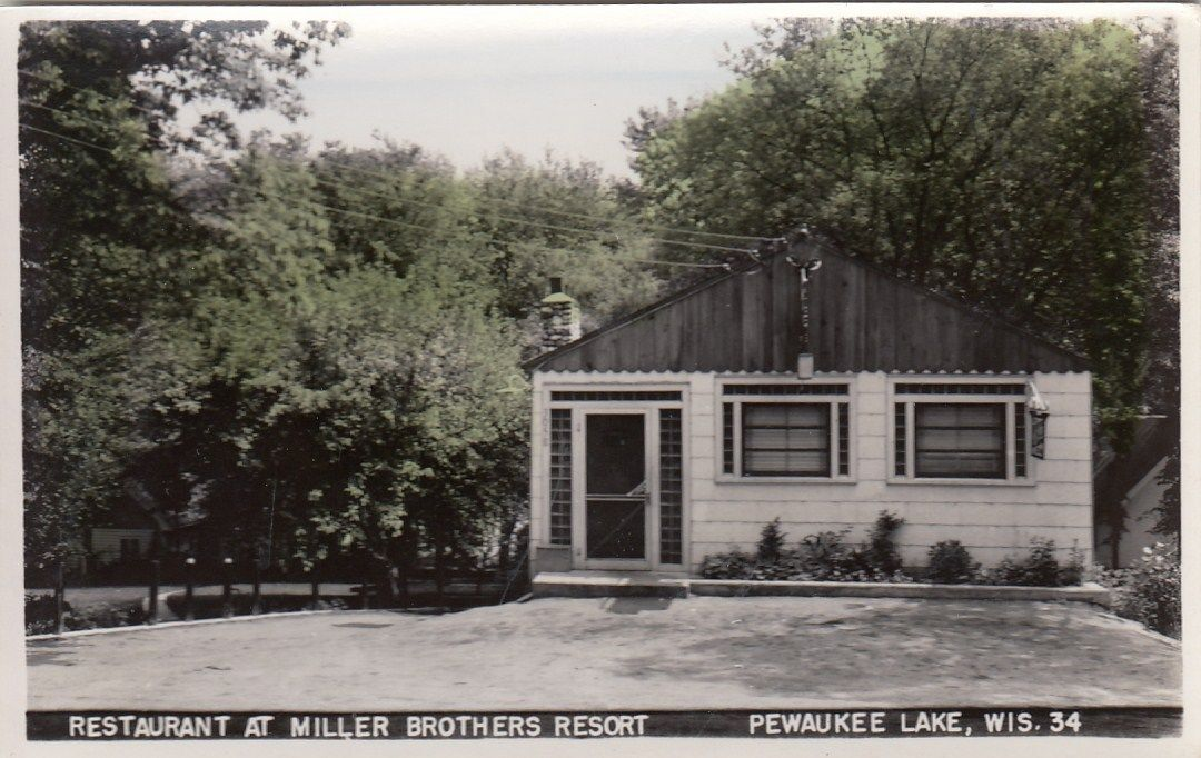 318bb0e7a PEWAUKEE LAKE WI MILLER Bros. RESORT 2 NEW RPPC POSTCARDS CAFE + CAR ...