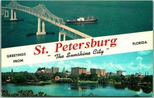 St. Petersburg, Florida Postcard Sunshine Skyway / Skyline View c1960s Unused