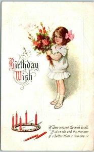 Vintage Embossed Greetings Postcard A Birthday Wish Girl w/ Flowers c1910s