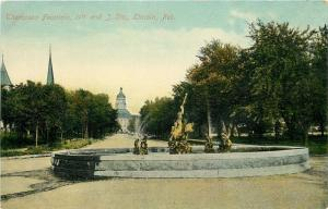 Lincoln Nebraska~Thompson Fountain~11th & J Streets~Gone Now~1910 PC