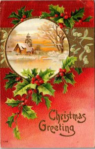 Antique 1907-15 Christmas Greetings Winter Scene Holly Wreath   PC