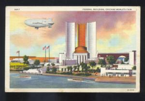 1934 CHICAGO WORLD'S FAIR GOODYEAR BLIMP AIRSHIP VINTAGE LINEN POSTCARD