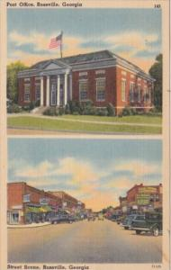 Post Office and Main Street Business Section Rossville Georgia 1943