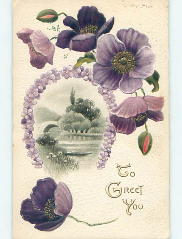 Divided-Back BEAUTIFUL MAUVE FLOWERS & RIVER SCENE o8891